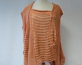 Irregular feminine salomon-colour blouse, XXL size. Made of cotton, only one sample.