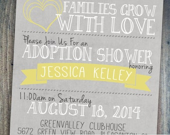 Adoption Shower Invitation - International, baby or foster adoptions - Digital Printable File