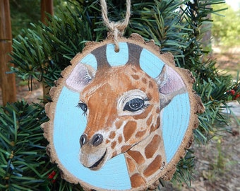 Giraffe Hand painted wood slice ornament