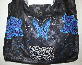 Large tote bag in black cotton fabric, blue and turquoise flowers