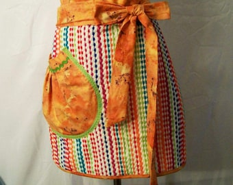 Women's Handmade  Multi Color Stripe Apron, Towel Half Apron, Kitchen Apron, Serving Apron, Gift for Mom, Made in the USA, #15A