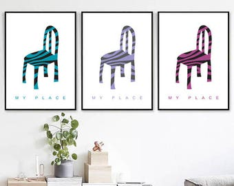 "Set of 3 prints ""My Place"", minimalist artwork for home/office wall decor, 16/20"". Downlouding high quality artwork!"