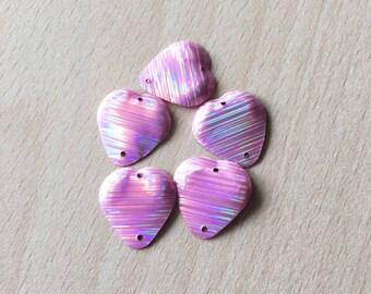 beautiful sequin heart shaped pink Rainbow 17 mm