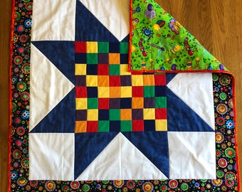 Big Star Lap Quilt / Baby Quilt Handmade / Quilted Baby Blanket / Baby Shower Gift / Handmade Quilted Baby Blanket / Baby Quilt Handmade
