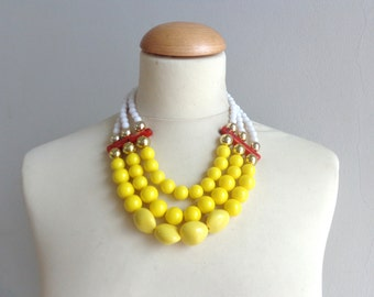 yellow colourful chunky necklace modern tribal statement red white gold