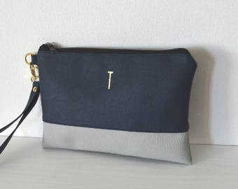 Navy / Grey Wristlet with Gold Initials