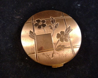 Unmarked Vintage Compact, Gold Tone, Floral