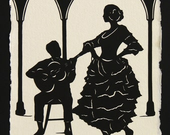 Hand-Cut Papercut Art - Flamenco Dancer Silhouette - A NIGHT in SEVILLE