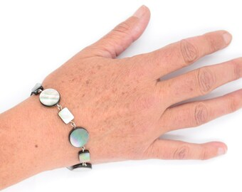 Bracelet, solid silver bracelet, pearl bracelet, boho, hippie jewelry, chic, gift for her