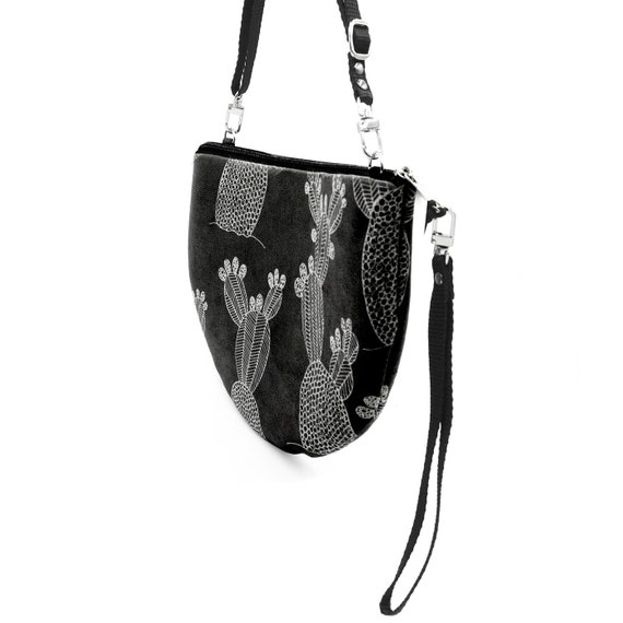 Crossbody bag black and white, cactus graphics, evening pochette, Round Purse, Unique Shoulder Bag, cactus Bag