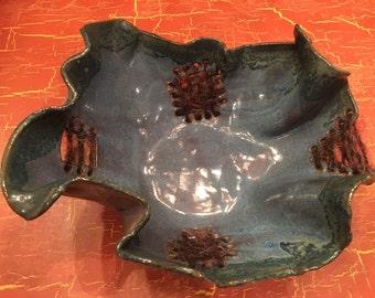 Handmade Freeform Yarn/Clay Denim Blue Glaze Pottery Bowl with Green-Blue Trim