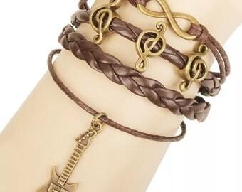 Bracelet by MWL guitar music lover dark brown bracelet handmade