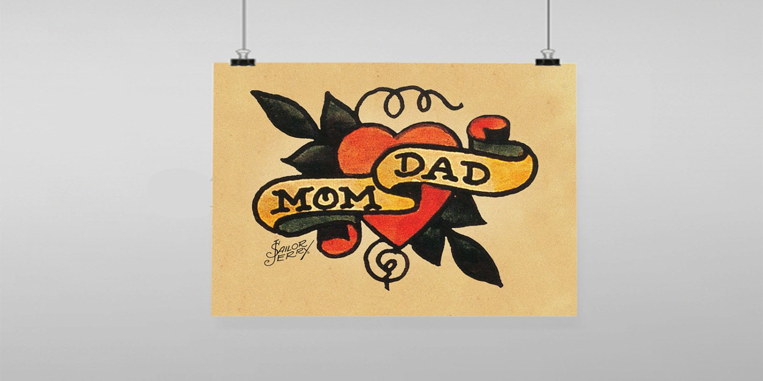 Mom Dad heart Tattoo Sailor Jerry Vintage Reproduction Wall