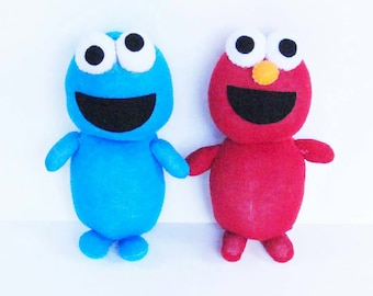 Elmo and Cookie Monster sock dolls