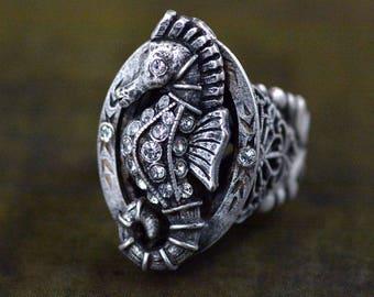 Seahorse Ring, Seahorse Jewelry, Silver Seahorse, Ocean Ring, Beach Ring, Aquarium Ring, Seahorse Charms, Gold Seahorse R541
