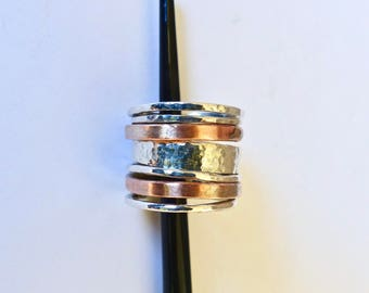 Woman rings. Seven stacking rings.  Hammered fine silver rings and copper rings to stack.