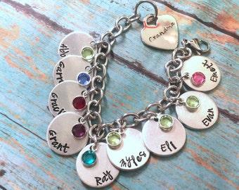 Mom Charm Bracelet Personalized Stamped Mom Grandma Charm Bracelet with Swarvoski Channel Birthstones-Mothers Day-Trending-Popular Gift