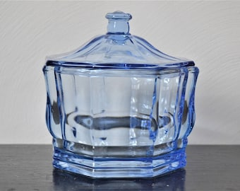 BLUE GLASS Indiana Glass Candy Dish Lidded Apothecary Jar Lidded Serving Bowl
