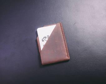 Minimalist Wallet, Brown Leather Card Wallet, Slim Leather Wallet,  Leather Card Holder