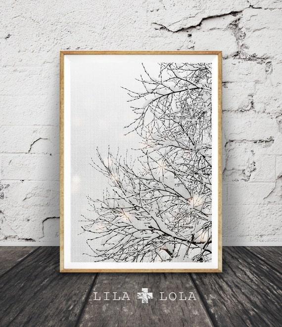 Winter Wonderland Decor, Tree Branches Print, Snow Nursery Print, Wall Art Decor, Modern Photography, Tree, Grey White, Woodlands