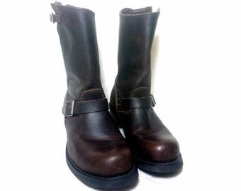 vintage dark brown leather engineer boots,  Size : EU 42 / US men's 8 1/2, women's 10 / UK men's 8, women's 7 1/2