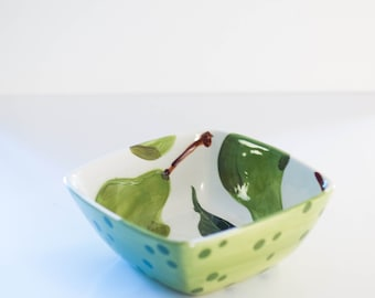 Ceramic Bowl Small Serving Bowl Pottery Bowl Pear Small Square Bowl Wedding Gift for Couple Bridal Shower Gift for Bride Hostess Gift  P