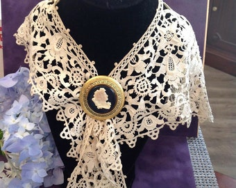 Gone With the Wind- Scarlett's Cameo-created by Lux Soap 1940's & Antique French collar