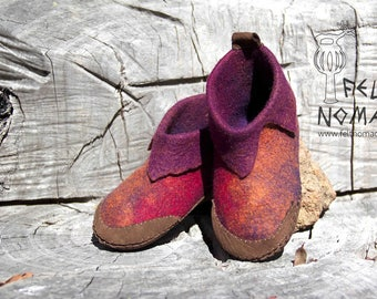 Felted Shoes with Leather Sole.:.MADE TO ORDER