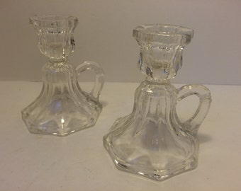 SALE!! Cut glass Candle stick holders with finger loops