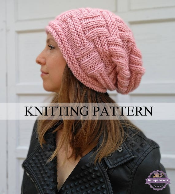 Slouchy Beanie Knitting Pattern Slouchy Hat Pattern Easy