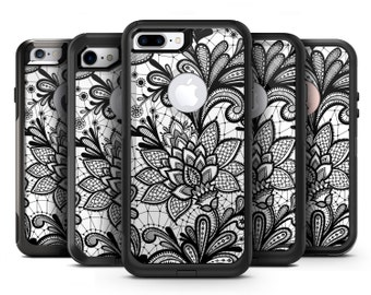 Black and White Geometric Floral - OtterBox Case Skin-Kit for the iPhone, Galaxy & More