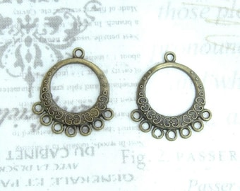 Antiqued Brass Chandelier Earrings Antiqued Brass Earring Component Round Chandelier Earring Findings