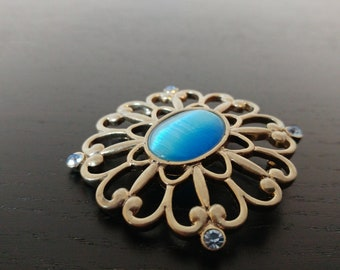 Vintage Blue Cateye and Crystal Brooch