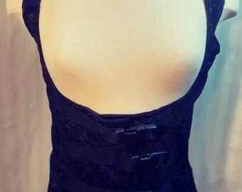 Black Brocade Buckle Vest Size Small to Medium