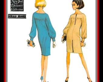 Vintage 1966-DESIGNER MOD DRESS-Sewing Pattern-Elegant Cut-Bateau Neckline-Bell Sleeves-Cuffs-Dramatic Button Detail-Uncut-Size 16-Rare