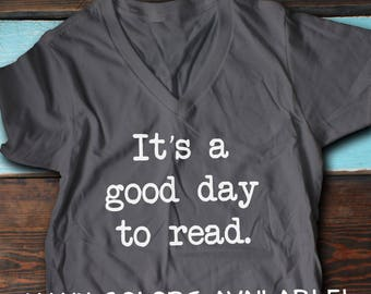 V-Neck Reading Shirt, Book Lover T-Shirt, Book Lover Shirt, Book Tee, Reading Shirt, Book Lover Gift, Read T-Shirt, Reader Shirt, Book Shirt