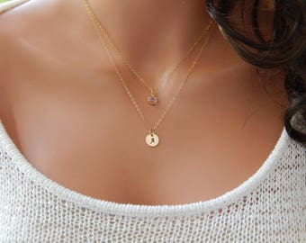 Initial and Birthstone Necklace • Personalized Monogram • Dainty Gold Necklace • Girlfriend Gift • Mothers Day Necklace Personalized