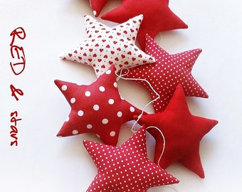 STARS red - a garland for a child's room