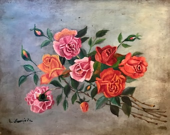 Red, pink, and orange roses (antique oil painting)