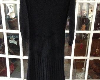 50's black nubby wool knit dress