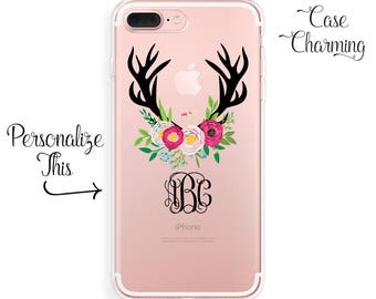iPhone 8 Plus Case, ANTLERS, iPhone X Case, MONOGRAM, iPhone 7 Plus iPhone 6 Plus iPhone 6s iPhone SE Samsung Galaxy S9 S8 S7 edge S6 Floral