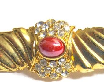 Vintage Winged & Jeweled Collar Pin
