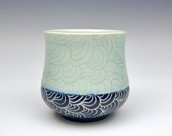 Blue Celadon Sgraffito Porcelain Yunomi