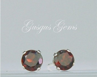 Garnet Stud Earrings Sterling Silver 4mm Round .70ctw Natural Untreated