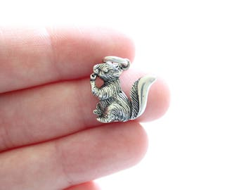 Sterling Silver Squirrel Charm, Squirrel Charm, Silver Squirrel Charm, Squirrel Pendant, Silver Squirrel Pendant, Realistic Squirrel Charm