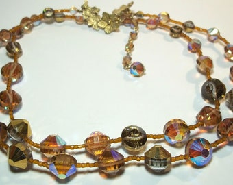 Vintage 2 strand Aurora Borealis Glass Bead Necklace Signed 'Vendome'