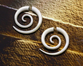 Fake Gauge, Large Tribal Spirals, Split, Handmade, Cheaters, Organic, Plugs, White Bone Earrings - B05