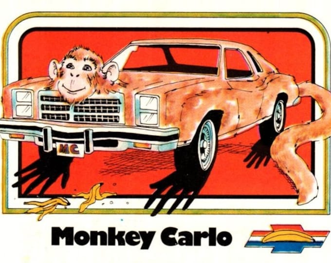 1976 Wonderbread Crazy Cars Monkey Monte Carlo Trading Card