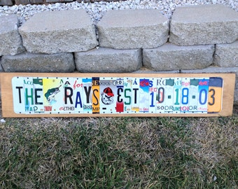 License plate sign made to order gift word sign gift for