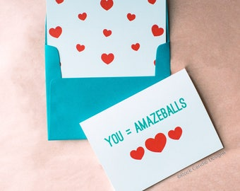 You're Amazeballs Greeting Card | Unique Thank You | Card For Co-Worker or Boss | Cute Stationery for Someone Special | Card for Best Friend